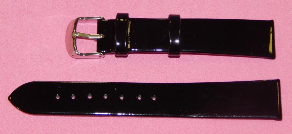 18 мм. Ремешок кожаный Verona (Италия) Черный лак