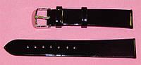 18 мм. Ремешок кожаный Verona (Италия) Черный лак, фото 1
