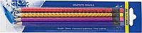 Набір олівців графітових HB, асорті голограма, з гумкою, 4шт.блістер BM.8522