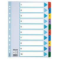 Разделители Esselte Mylar  A4 белый картон 1-10 100161