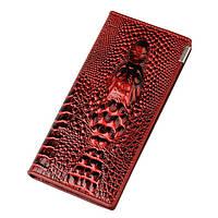 Кожаный женский  кошелек с 3D изображением крокодила Красный Акция!