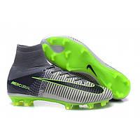 Бутсы Nike Mercurial Superfly V FG grey-black-green , фото 1