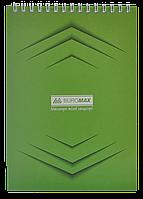 Блокнот на пружині зверху , А-5, 48 арк, JOBMAX, клітинка, картонна обкладинка, зеленийBM.2474-04