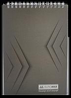 Блокнот на пружині зверху , А-5, 48 арк, JOBMAX, клітинка, картонна обкладинка, сірийBM.2474-09