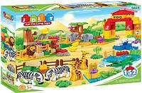 Конструктор Зоопарк JDLT 5028, 152 детали, фигурки животных, детали декора: зелень, деревья, лианы