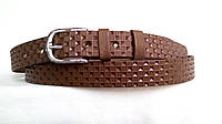 Кожаный женский ремень 25 мм коричневый пряжка серебрянная овальная