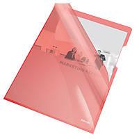 Папки-уголки глянцевые, цветные, прочные A4 / 150 мик, Esselte, красный, 25 шт.55433