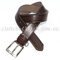 Ремень для брюк LMi 40 мм эко кожа темно-коричневый белая строчка