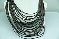 Свисающие коричневые колье из кожи. Кожаные шейные украшения оптом недорого. 494
