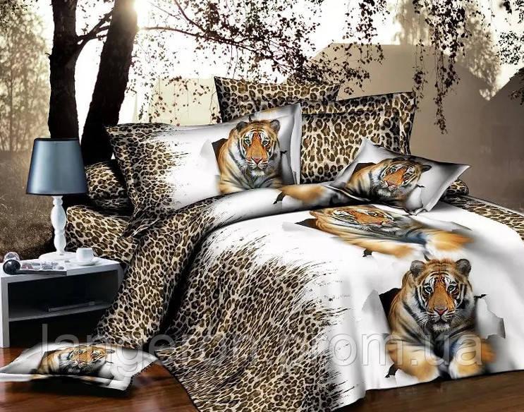 Постельное белье, комплект евро размер Леопардовый принт с тигром 3D