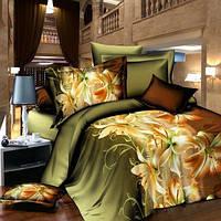 Постельное белье, комплект евро размер Темно-зеленый с оранжевыми лилиями 3D