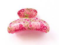 Большой краб пластик, розовый с бабочками