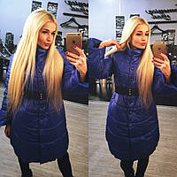 Зимняя куртка пальто до колен лаке на силиконе 250 размеры 42 44 46 48-50 52