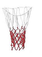 Сетка баскетбольная C-318 (нейлон, 12 петель, яч. р-р 7x7см, ,цвет бело-красный, в компл. 2 шт.)
