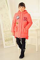 Детская зимняя куртка парка «Буквы», коралл