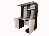 """Компьютерный стол трансформер """"Юлия"""" стол+книжный шкаф кш-01 дуб венге+дуб молочный"""