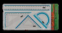 Комплект: лінійка 25см, 2 кутники, транспортир, з блакітною смугоюZB.5681