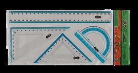 Комплект: линейка 25см, 2 угольника, транспортир, с голубой полосой, KIDS Line (ZB.5681)