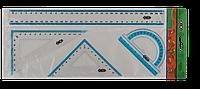 Комплект: лінійка 30см, 2 кутники, транспортир, з блакітною смугоюZB.5682