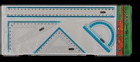 Комплект: линейка 30см, 2 угольника, транспортир, с голубой полосой, KIDS Line (ZB.5682)