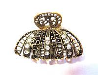 Краб металлический, золотистый с камнями