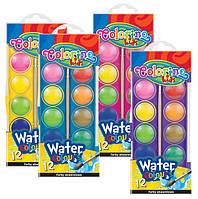 Краски акварельные  с кисточкой, большие таблетки , 12 цветов. Насыщенные, яркие цвета41089PTR
