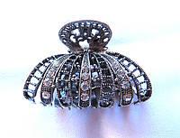 Краб металлический, серебристый с камнями