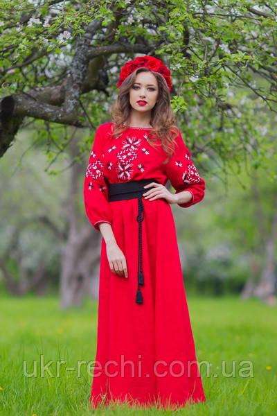 Женское вышитое платье в пол красное