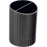 Стакан для ручек круглий на два відділення, JOBMAX, чорнийBM.6350-01