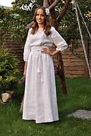 Женское вышитое платье в пол белое