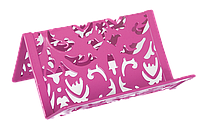 Подставка для визиток Buromax Barocco 100x97x47мм металлическая, розовая BM.6226-10