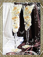 Свадебные бокалы ручной работы с лепкой