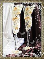 Свадебные бокалы ручной работы с лепкой, фото 1