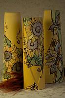 Керамическая ваза средняя с рисунком Подсолнух