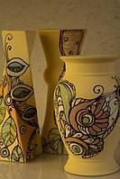 Керамическая ваза средняя с рисунком Растения