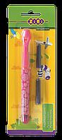 Ручка перьевая (открытое перо) + 2 капсулы, розовый корпус с рисунками, картонный блистер, KIDS Lin (ZB.2243)