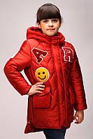 Куртка парка для девочек «Буквы», терракот | Зимняя курточка