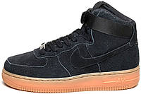 Мужские кроссовки Nike Air Force 1 High Suede Black Gum, найк, аир форс