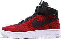 "Мужские кроссовки Nike Air Force 1 Ultra Flyknit Mid ""Wine Red/Black"", найк, аир форс"