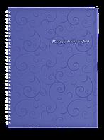 Тетрадь на пруж. Barocco А4, 80л., фиолетовый, кл., пластик. обл.