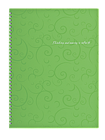 Зошит на пруж. Barocco А4, 80 арк, кл., салатовий, пласт.обкл.BM.2446-615