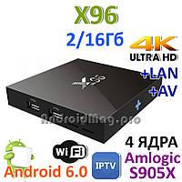X96 4 ядра Amlogic S905X Android 6.0 2-16Gb TV приставка UltraHD 4K