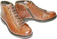 Ботинок зимний мужской Luciano Bellini 05801 натуральная кожа, натуральный мех, коричневые, шнурок, молния.