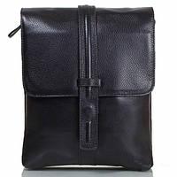 Небольшая мужская кожаная сумка черная