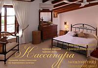 Кровать металлическая двуспальная Кассандра на деревянных ножках