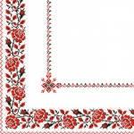 Серветки 33х33 укр. орнамент (вишиванка червона) Марго 50шт26385