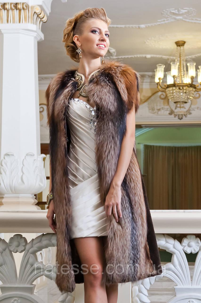 """Удлиненный жилет из чернобурки """"Иванна"""" Silver fox fur vest gilet sleeveless, фото 1"""