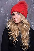 Женская вязаная шапка с помпоном в 9ти цветах AC Адель