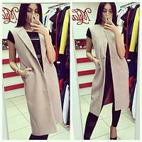 Кашемировый жилет-пальто на пуговице