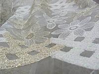 Тюль фатин вышивка белый+золото